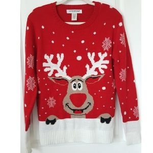 Ugly Christmas Sweater Red Nose Reindeer Size M